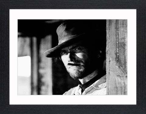 Clint,Eastwood,-,02,Picture, Photo, Photograph, Print, Framed Photograph,  Icon, Black&White, B&W, Black & White, Clint Eastwood, Clinton Eastwood, Jr, film actor, director, producer, composer and politician, Rawhide, the Man with No Name, Sergio Leone's,  Dollars trilogy