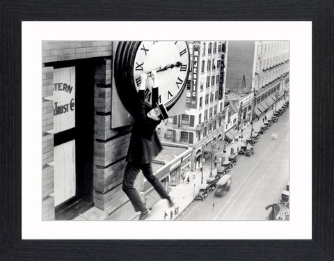 Harold,Lloyd,-,06,Picture, Photo, Photograph, Print, Framed Photograph, Icon, B&W, silent films, talkies, Harold Lloyd, Safety Last, comedian, silent film, stunts, 1920's