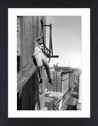 Harold,Lloyd,-,09,Picture, Photo, Photograph, Print, Framed Photograph, Icon, B&W, silent films, talkies, Harold Lloyd, Safety Last, comedian, silent film, stunts, 1920's