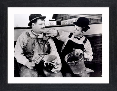 Laurel,&,Hardy,-,03,Picture, Photo, Photograph, Print, Framed Photograph,  Icon, B&W, Laurel and Hardy, Stan Laurel, Oliver Hardy, comedy double acts, comedy, double act, slapstick, Sons of the Desert, Aademy Award, The Music Box, Babes in Toyland, Way Out West