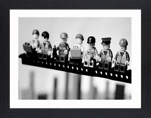 Lego,Lunch,Up,High,-01,Picture, Photo, Photograph, Print, Framed Photograph,  Icon, New York Construction Workers Lunching on a Crossbeam, Rockefeller Center, New York City