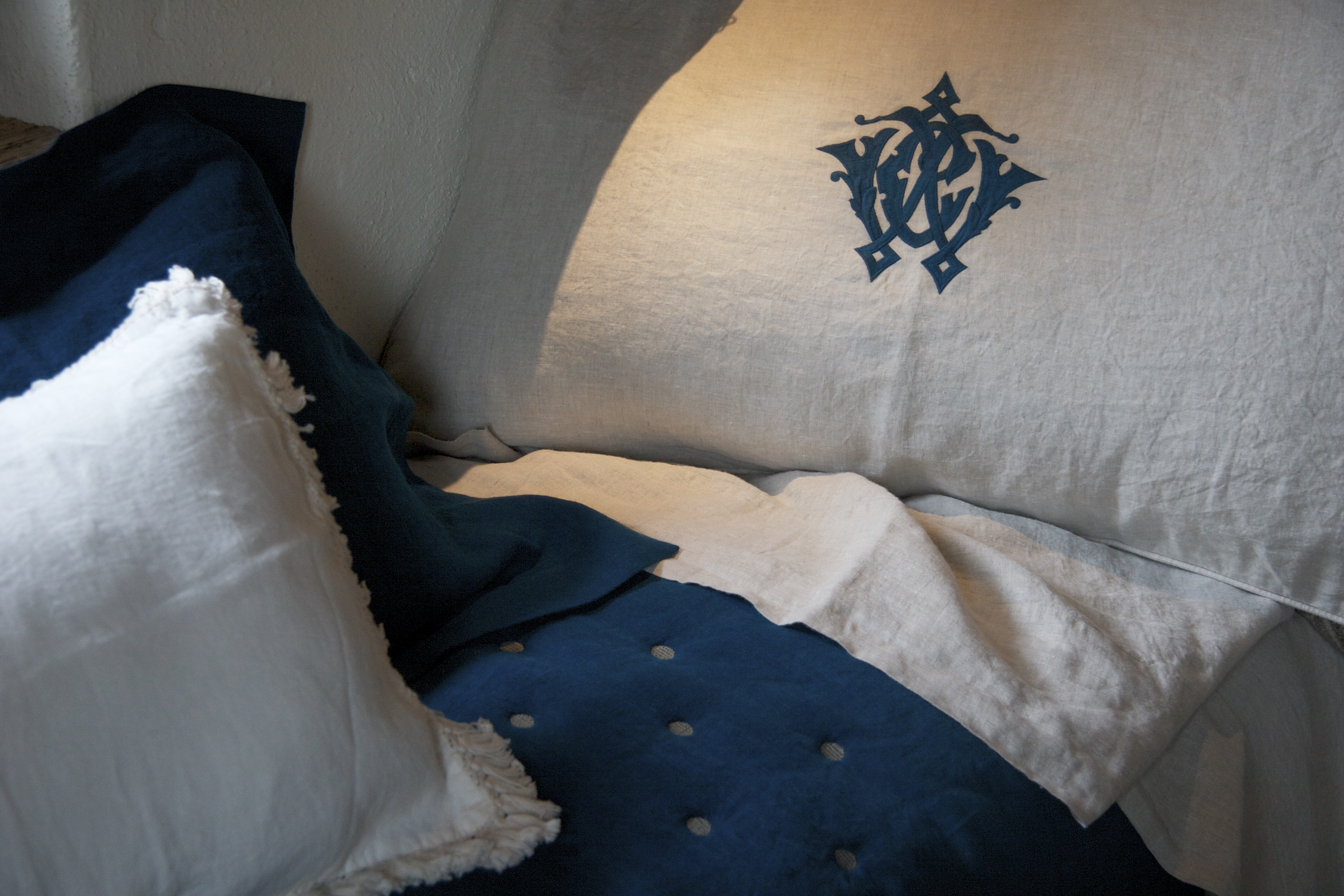 luxury linen pillowcase with piping and monogram