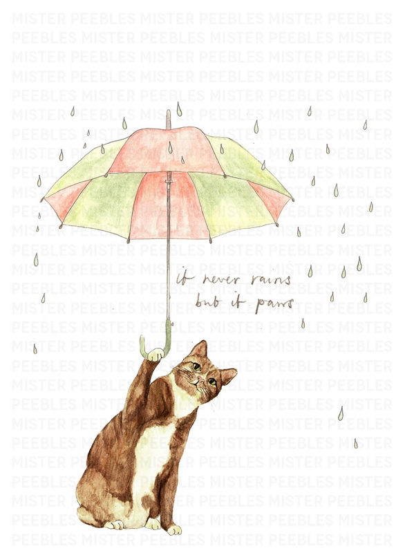 It Never Rains But It Paws Print by Mr Peebles - product images