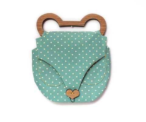 Bear,Clutch,Bag,by,Ella,Goodwin,Bear Clutch Bag by Ella Goodwin, polka dot, yellow, bag, wooden, ella goodwin