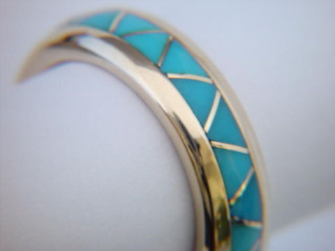 Traditional,Navajo-Style,Wedding,Band,design,-,18,Karat,Gold,Turquoise Inlay, Turquoise Wedding Ring, Inlay, Gold and Turquoise, 18 Karat, 14 Karat,  Sleeping Beauty Turquoise, Custom Wedding Rings, Arizona, Navajo, Designer, Thomas Carusetta