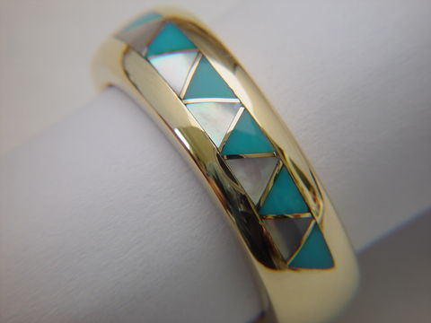 Traditional,Navajo-Style,Wedding,Ring,-,14,Karat,Gold,Navajo Wedding Ring, Wedding band, Turquoise and Gold. Gold and Turquoise, Navajo Style