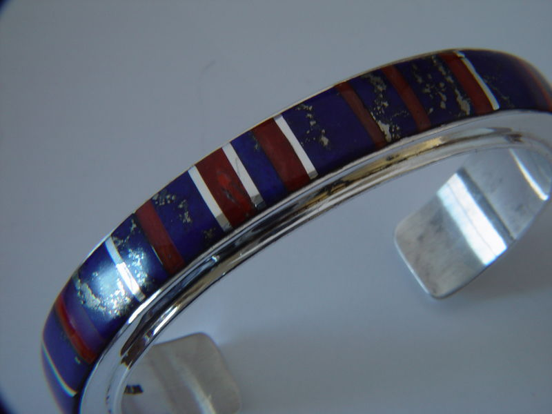 Lapis Lazuli and Coral set in a Sterling Silver Bracelet - product images  of