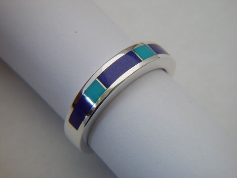 Lapis,Lazuli,and,Sleeping,Beauty,Turquoise,Ring,-,5.5,mm,Lapis Lazuli, Lapis Ring, Wedding Ring, Sleeping Beauty, Wedding Band