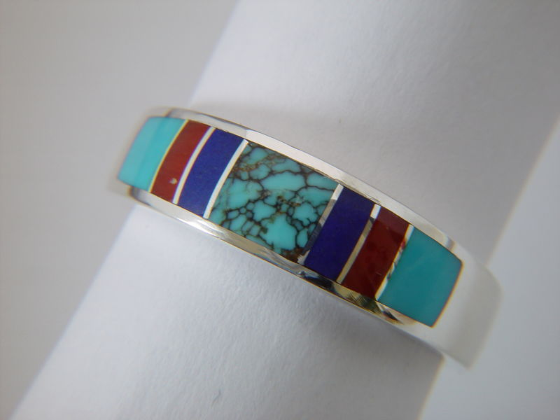 Spiderweb Turquoise, Lapis, Coral and Sleeping Beauty Turquoise in Sterling Silver Wedding Rings - product images  of