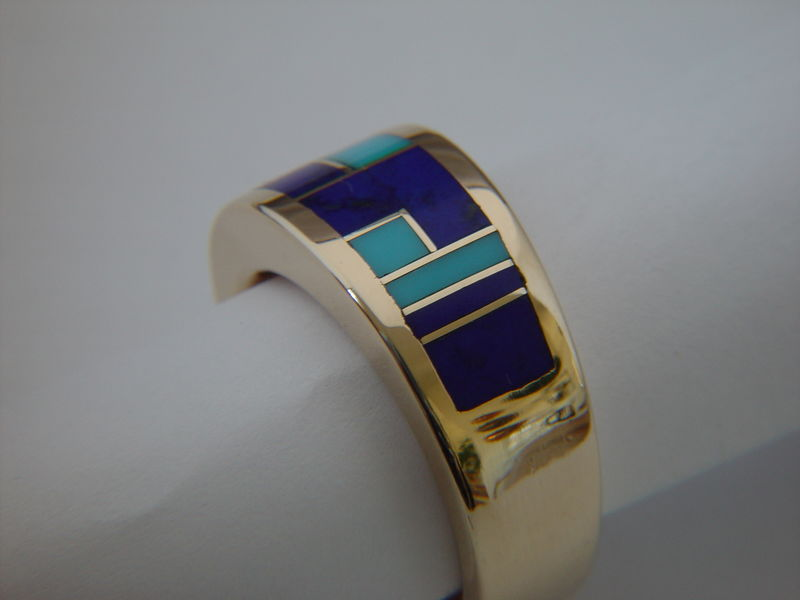 Sleeping Beauty Turquoise and Lapis in 14 Karat Gold Ring - product images  of