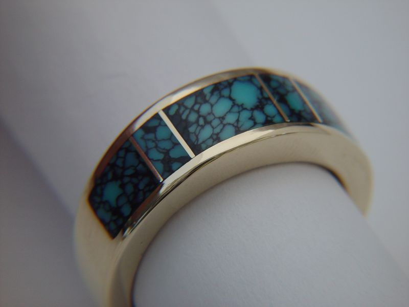 High Grade Spider Web Turquoise in 7 mm wide 14 Karat Gold Ring - product images  of