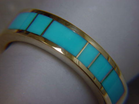 Sleeping,Beauty,Turquoise,in,5mm,wide,14,Karat,Gold,Ring,Gold Ring, Wedding Ring, Inlay, Gold and Turquoise, Custom Wedding Rings, Turquoise Inlay. Arizona, Navajo, Designer