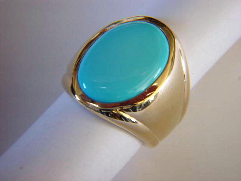 Sleeping,Beauty,Turquoise,in,Heavy,14,Karat,Yellow,Gold,Ring,Gold Ring, man's ring, Men's ring, Gold and Turquoise, Custom Gold Rings, Turquoise Inlay. Arizona, Navajo, Designer, 18 Karat gold