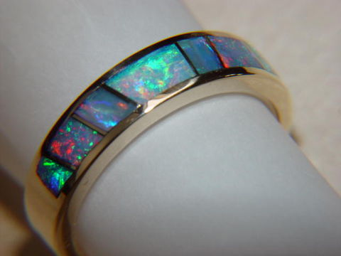 Australian,Opal,Crystal,in,5mm,wide,14,Karat,Gold,Ring,Gold Ring, Wedding Ring, Inlay, Gold and Opal, Custom Wedding Rings, Opal Inlay. Arizona, Navajo, Designer, Australia, Australian Opal