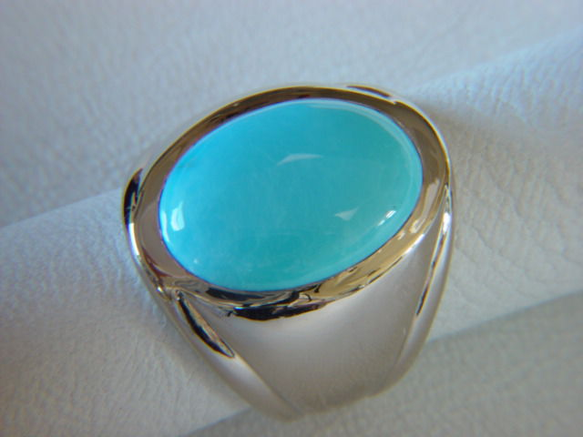 Sleeping Beauty Turquoise in Heavy 14 Karat White Gold Ring