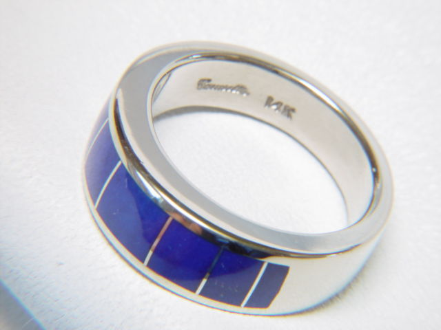 Lapis in 8 mm Wide 14 Karat White Gold Ring - product images  of