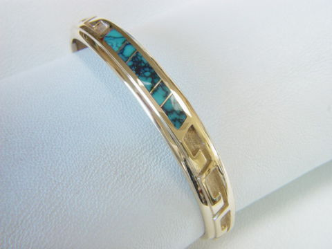 14,Karat,Gold,and,Turquoise,Inlay,Bracelet, Gold Bracelet, Platinum Bracelet, Gold Ring, Inlay, Gold and Lapis, Turquoise and Gold, Opal, Opal Inlay, Arizona, Custom Wedding Rings, Lapis Inlay, Lapis Lazuli, Coral, Red Coral, Navajo, carusetta