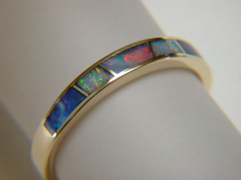 Opal,in,3.5,mm,Wide,14,Karat,Gold,Ring,18 Karat, 14 Karat, Platinum, Gold Ring, Wedding Ring, Inlay, Gold and Opal, Custom Wedding Rings, Opal Inlay, Lapis Lazuli, Arizona, Navajo Jewelry