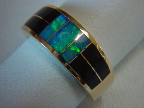 Black,Jade,and,Opal,Inlaid,10,mm,wide,18,Karat,Gold,Ring,18 Karat, 14 Karat, Platinum, Gold Ring, Wedding Ring, Inlay, Gold and Turquoise, Custom Wedding Rings, Turquoise Inlay, Opal, Opal inlay, Black Jade