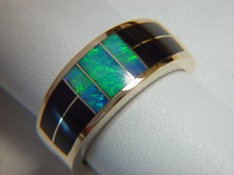 Black,Jade,and,Opal,Inlaid,10,mm,wide,14,Karat,Gold,Ring,18 Karat, 14 Karat, Platinum, Gold Ring, Wedding Ring, Inlay, Gold and Opal, Custom Wedding Rings, Turquoise Inlay, Opal, Opal inlay, Black Jade