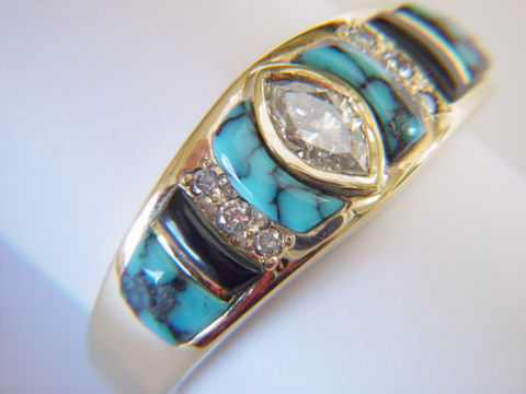 Turquoise,,Black,Jade,,and,Diamonds,set,in,18,Karat,Gold,Ring,Turquoise, Turquoise and diamonds, Black Jade, 18 Karat, 14 Karat, Platinum, Gold Ring, Wedding Ring, Inlay, Gold and Opal, Custom Wedding Rings, Opal Inlay, Diamonds, Arizona, Navajo Jewelry