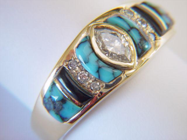 turquoiseblackjadeanddiamondssetin - Turquoise Wedding Rings