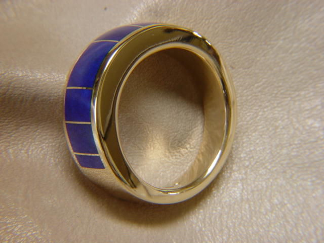lapis lazuli inlay in 8 mm wide 14 karat yellow gold ring product images of