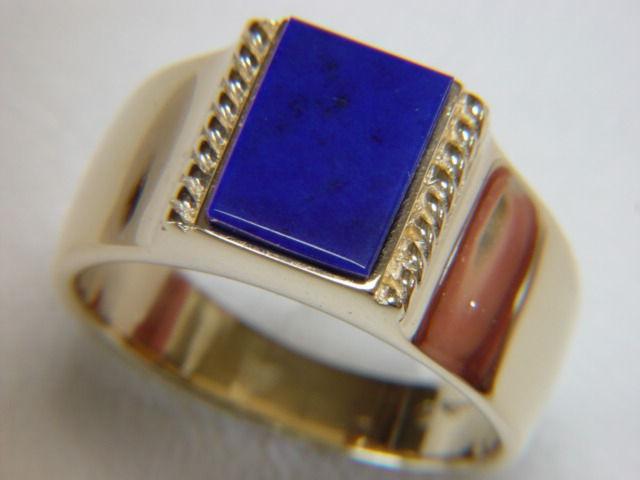 lapis lazuli set in heavy 14 karat yellow gold ring product images of