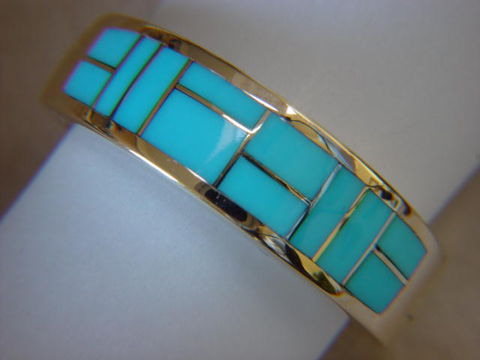 Sleeping,Beauty,Turquoise,Inlay,in,7mm,wide,18,Karat,Gold,Ring,Turquoise Inlay, Turquoise Wedding Ring, Inlay, Gold and Turquoise, 18 Karat, 14 Karat,  Sleeping Beauty Turquoise, Custom Wedding Rings, Arizona, Navajo, Designer, Thomas Carusetta