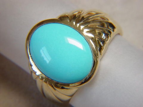 Sleeping,Beauty,Turquoise,in,Heavy,14,Karat,Gold,Ring,18 karat, 14 Karat, platinum, Gold Ring, man's ring, Men's ring, Gold and Turquoise, Custom Gold Rings, Turquoise Inlay. Arizona, Navajo, Designer, 18 Karat gold