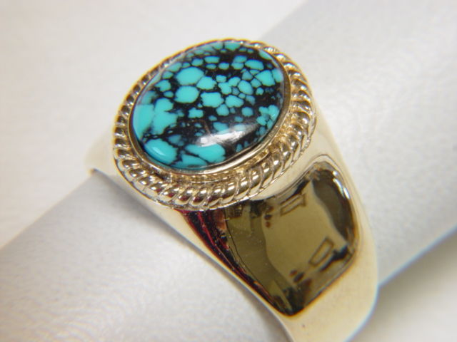 Natural Spiderweb Turquoise set in Heavy 14 Karat Gold Ring