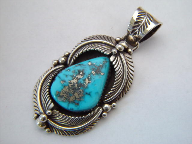 green turq royston turquoise silver by phillip sanchez htm jewelry native pendants navajo pendant authentic sterling