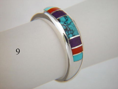 Turquoise,,Coral,,and,Sugilite,,Inlaid,in,Silver,Ring,-,7,mm,wide,Spider web Turquoise, Inlay Ring, Turquoise  Inlay, Coral, Sugilte, Silver and Turquoise, silver ring, wedding ring, Inlay wedding band, Inlay wedding ring, carusetta