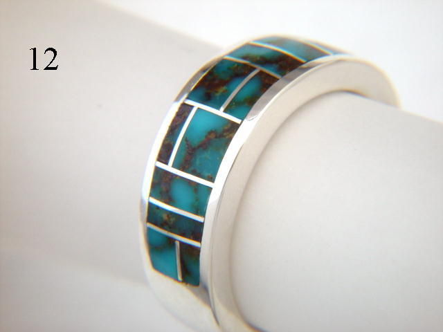 Blue Esmeralda County Turquoise Inlaid in Silver Ring 7 mm wide