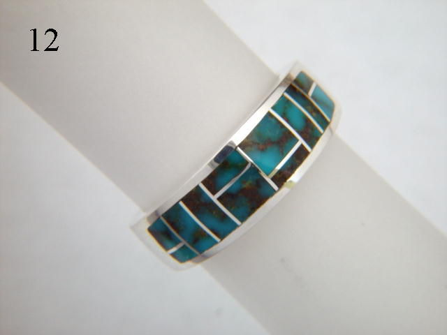 Blue Esmeralda County Turquoise  Inlaid in Silver Ring  - 7 mm wide - product images  of