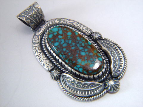 High,Grade,Spider,Web,Turquoise,set,in,Sterling,Silver,Spider web turquoise, High Grade Turquoise, Spider Web Turquoise Pendant, Esmeralda County Turquoise