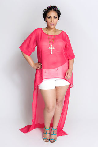 TEQUILA,PINK,top, shirt, blouse, plus size