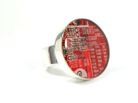 Red,Hot,Ring,Circuit board, Recycled, Computer, Motherboard, Necklace, Geek, IT Specialist, Black, Green, Intel, Microprocessors, Computer Chips, computer part jewelry