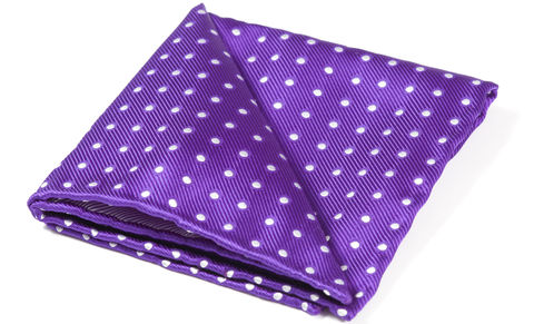 Sinclair,purple and white pocket square, purple polka dot pocket square, purple pocket square, silk purple pocket square, purple polka dot silk pocket square