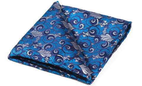 Icarus,silk pocket square, pocket squares online, pocket square uk, silk pocket square, blue pocket square, silk blue and white hank, silk blue and white pocket square, silk pocket squares, silk hanks, british made pocket squares