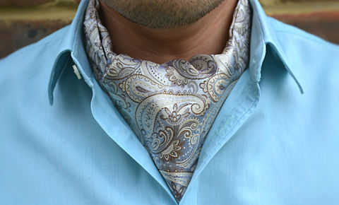 AVARO,cravat, ascots uk, cravat uk, white cravat, white silk cravat, white paisley silk ascot tie. cream brown paisley cravat, mens ascot tie