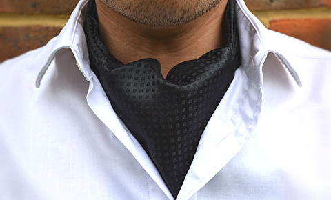 NERO,cravat, ascot, silk ascot, black cravat, silk black ascot tie, silk black cravats