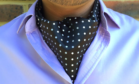 AXEL,black and white polka dot cravat, black & white polkadot ascot tie, ascot tie, silk cravat, ascot cravat uk