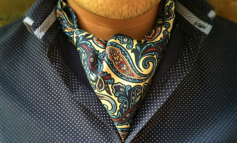 MIKOLAS, paisley ascot, paisley cravat, cravats uk, cravats online, ascot cravat, patterned ascot tie, pattern cravat, day cravat, silk cravat uk