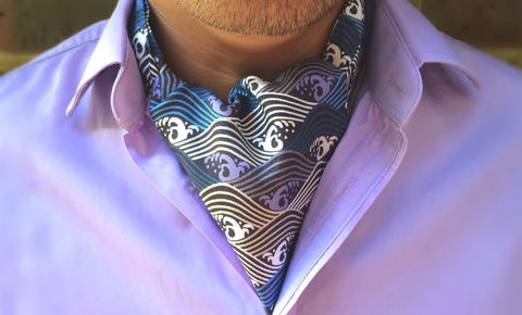 YUKI,japanese silk cravat, japanese pattern cravat tie, japan pattern ascot tie, patterned ascot tie, pattern cravat, ascot cravat, day cravat, silk cravat uk, blue cravat