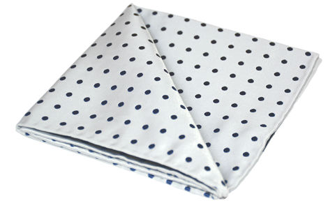 Hadleigh,white polkadot pocket square, white polka dot silk handkerchief, silk hanks uk, mens silk hanks