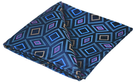 Ike,geometric pocket square, geometric handkerchief uk, mens silk handkerchief uk, mens silk pocket squares