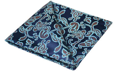 Frey,blue silk handkerchief, patterned pocket square, patterned handkerchief, mens handkerchiefs online, silk handkerchiefs for men