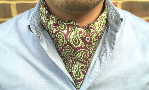 HENDRIX,purple silk cravat, paisley silk cravat, silk ascot cravat, paisley ascot, cravat tie, cravatte tie, green purple paisley cravat, silk ascot uk