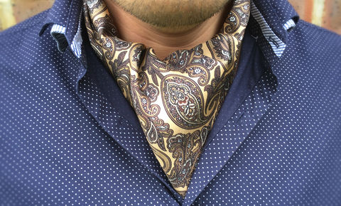 COSTELLO,brown paisley silk cravat, brown paisley silk ascot, mens silk cravat tie, mens silk ascot tie, buy ascot ties online, patterned silk cravat tie